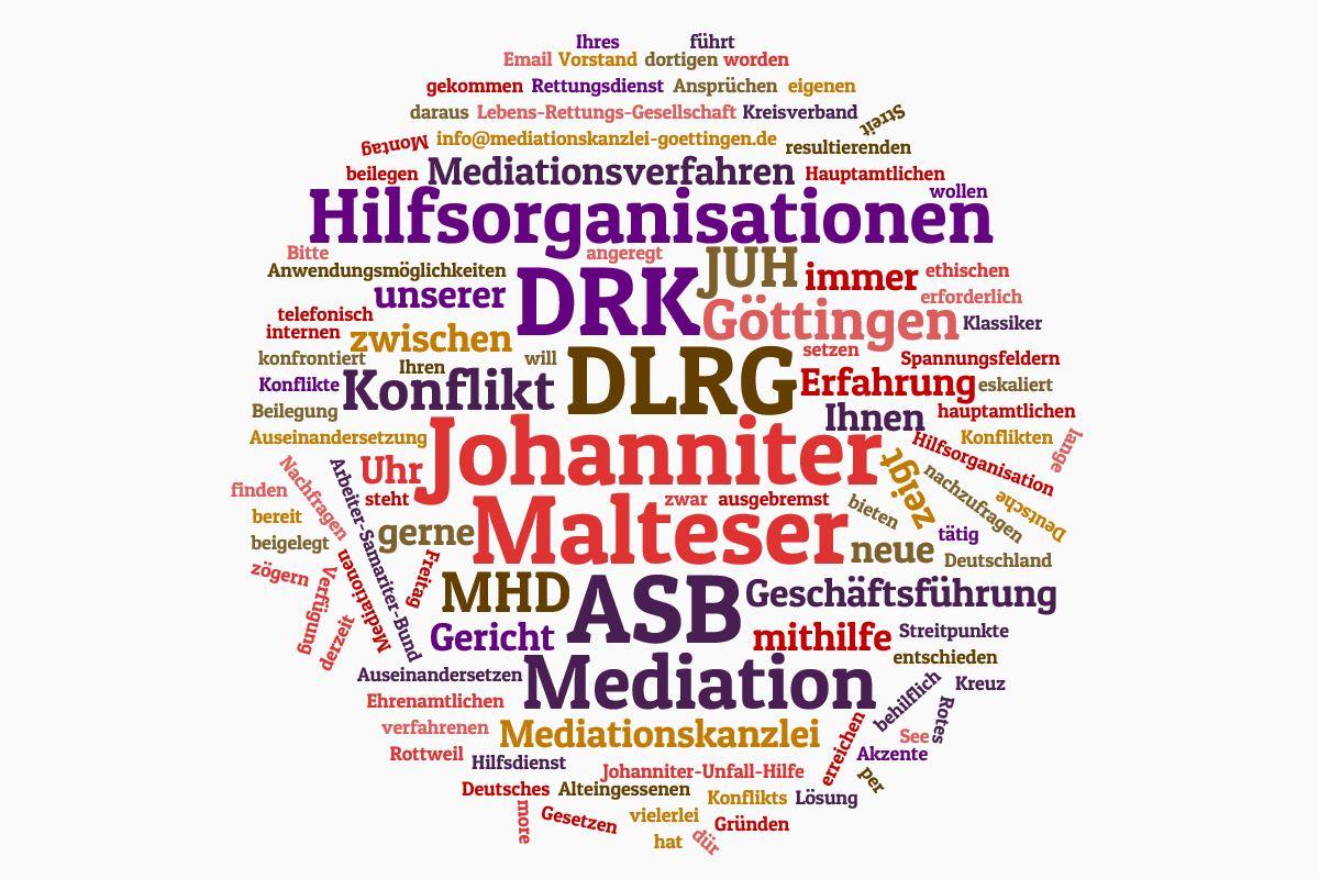 Hilfsorganisationen (DRK, ASB, DLRG, Malteser, und Johanniter) können interne Auseinandersetzungen durch Mediatoren lösen.