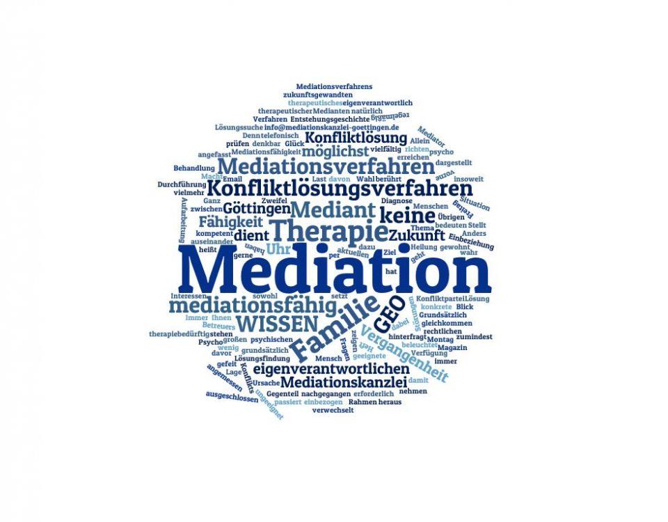 Mediation ist keine (Psycho-) Therapie, sondern ein Verfahren zur einvernehmlichen Konfliktlösung.